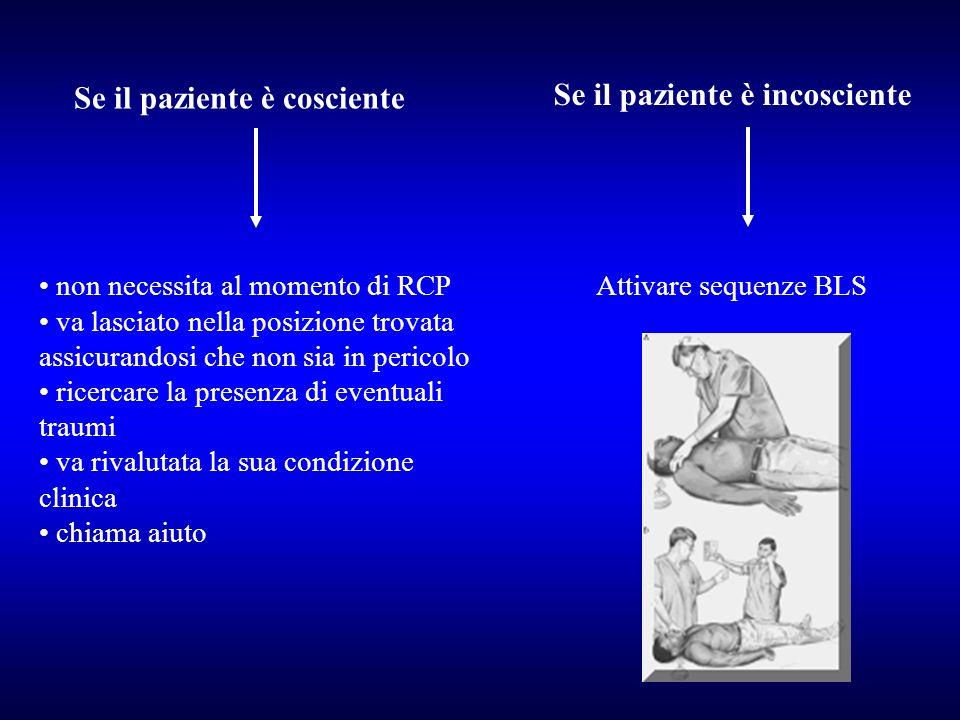 Se il paziente è cosciente Se il paziente è incosciente