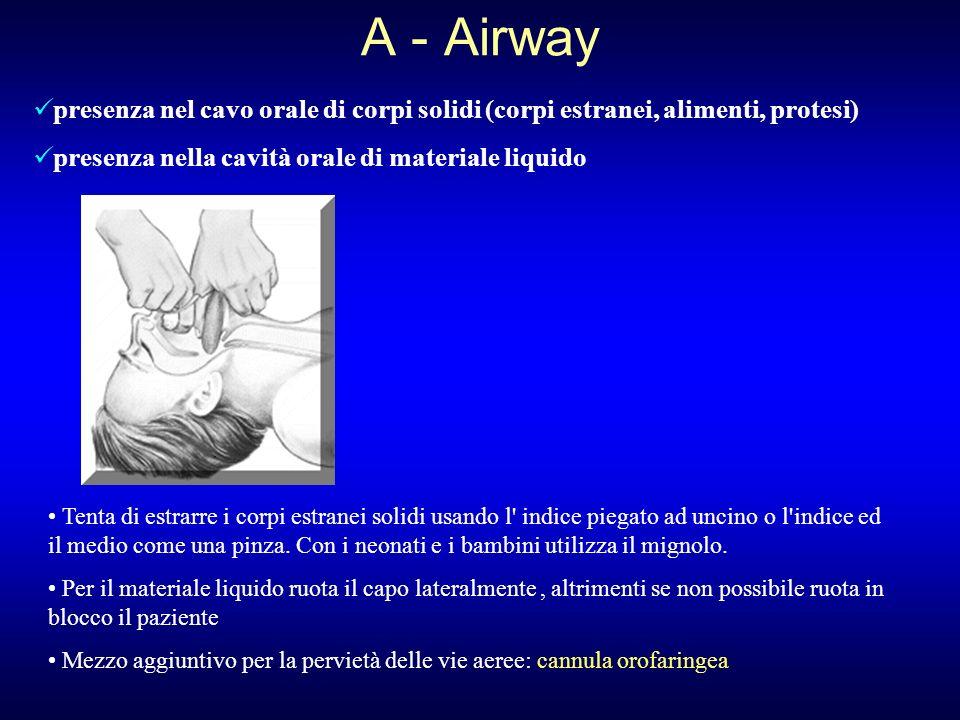 A - Airway presenza nel cavo orale di corpi solidi (corpi estranei, alimenti, protesi) presenza nella cavità orale di materiale liquido.