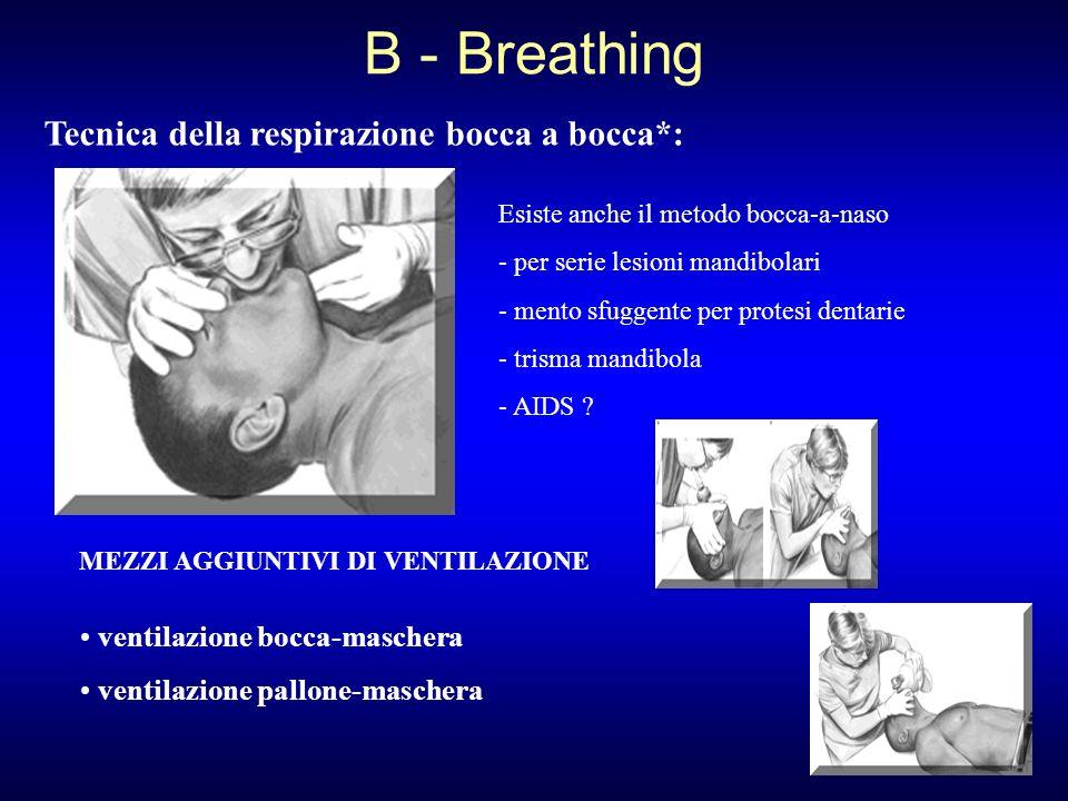 B - Breathing Tecnica della respirazione bocca a bocca*: