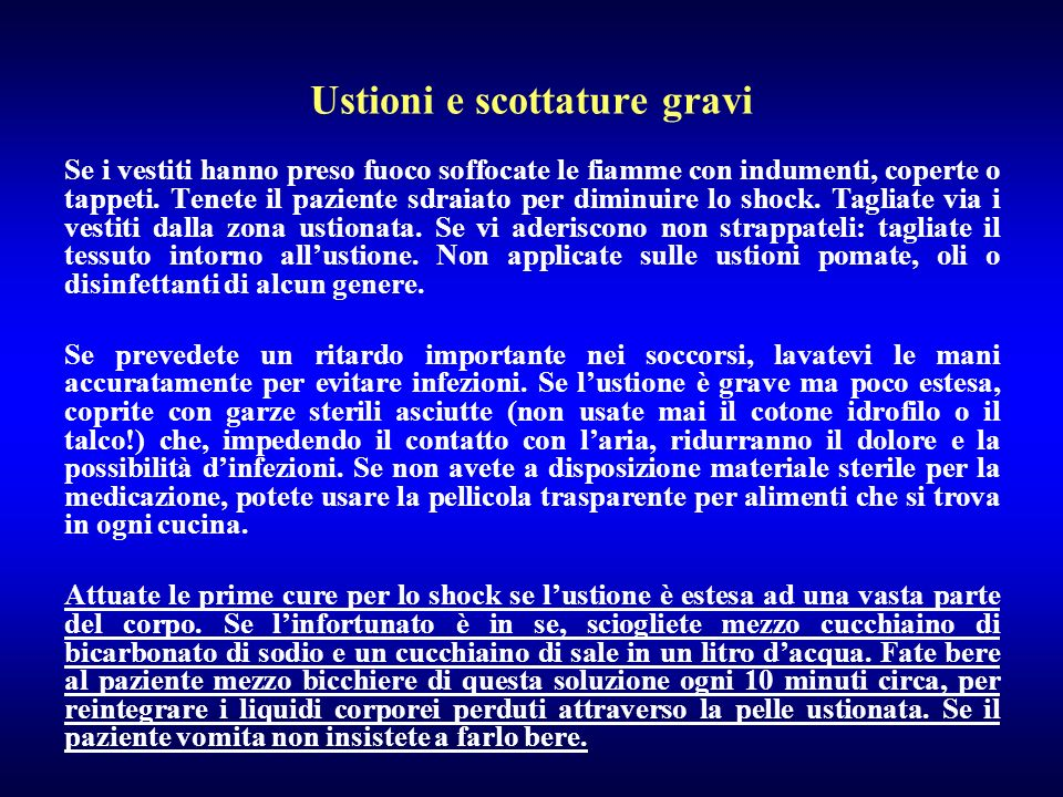 Ustioni e scottature gravi