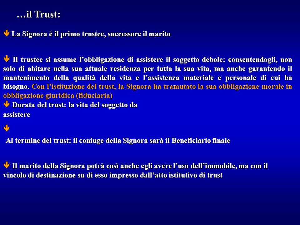 …il Trust:  La Signora è il primo trustee, successore il marito.
