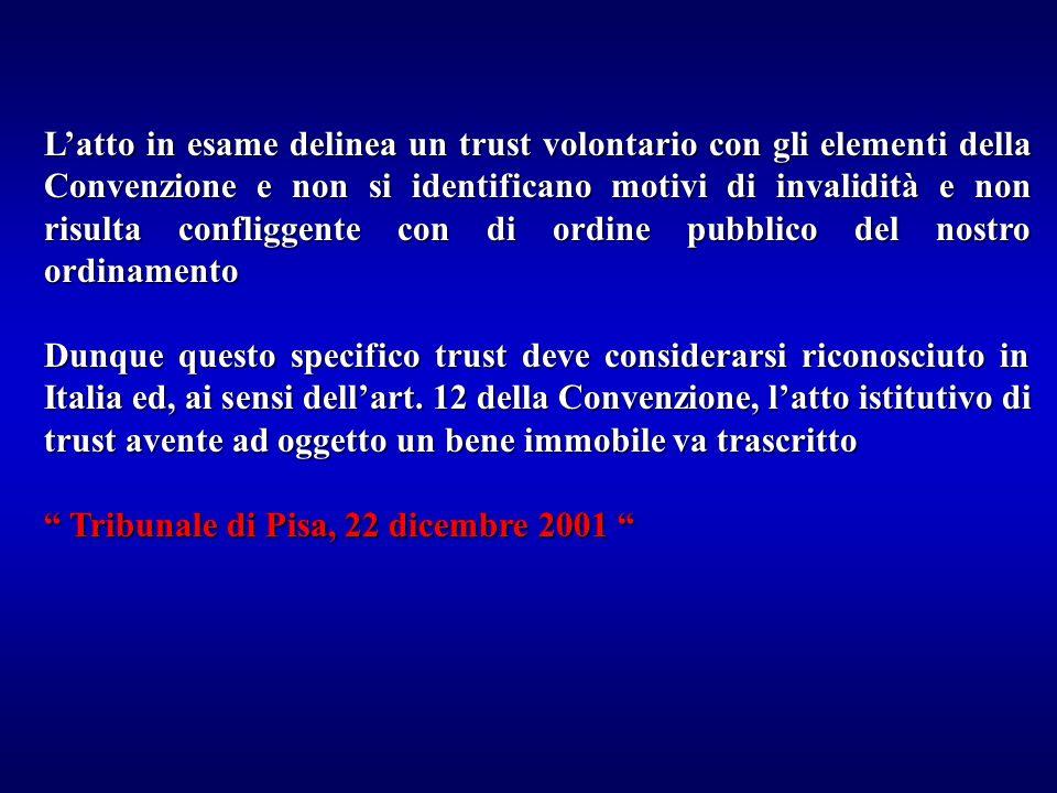 L'atto in esame delinea un trust volontario con gli elementi della Convenzione e non si identificano motivi di invalidità e non risulta confliggente con di ordine pubblico del nostro ordinamento