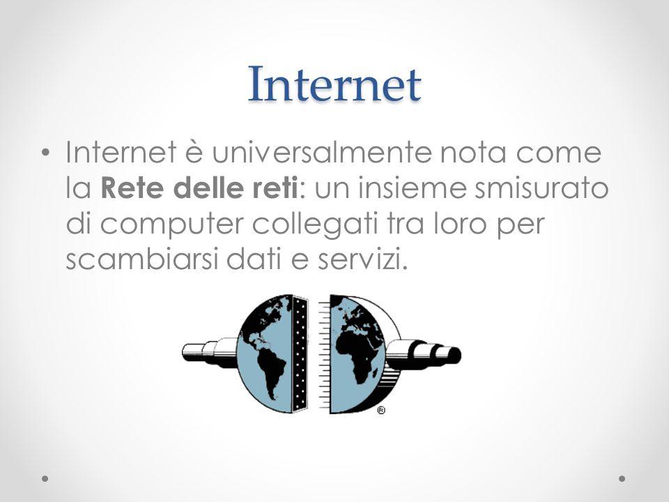 InternetInternet è universalmente nota come la Rete delle reti: un insieme smisurato di computer collegati tra loro per scambiarsi dati e servizi.