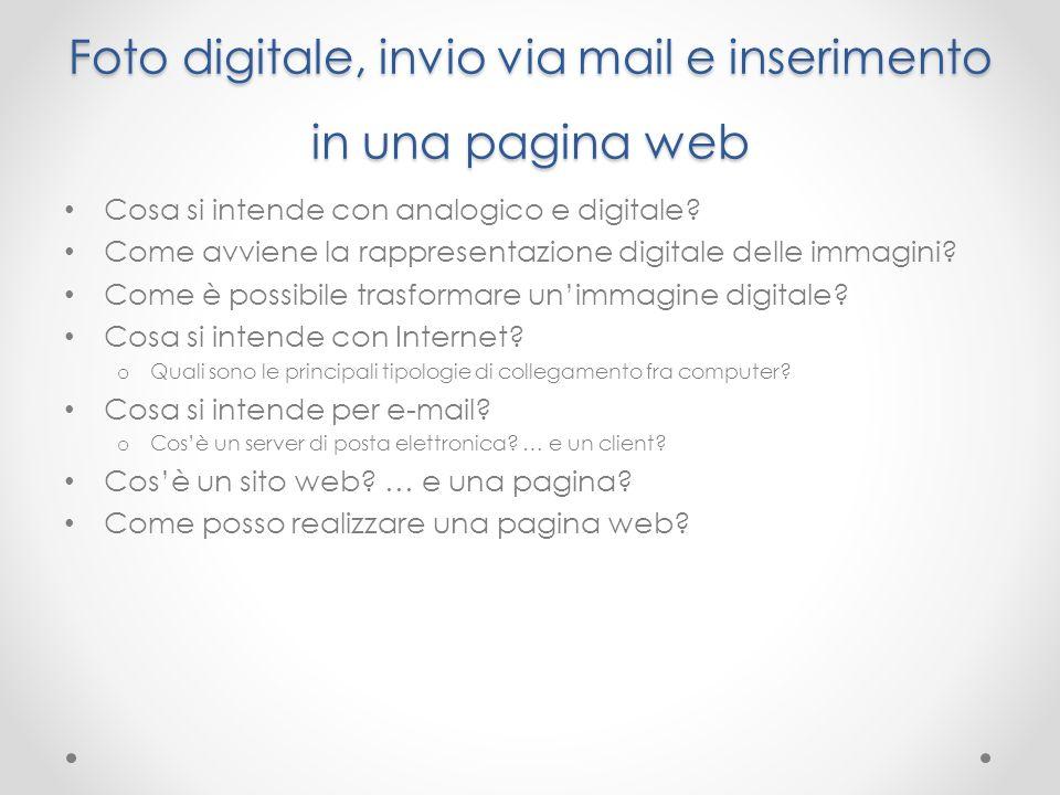 Foto digitale, invio via mail e inserimento in una pagina web