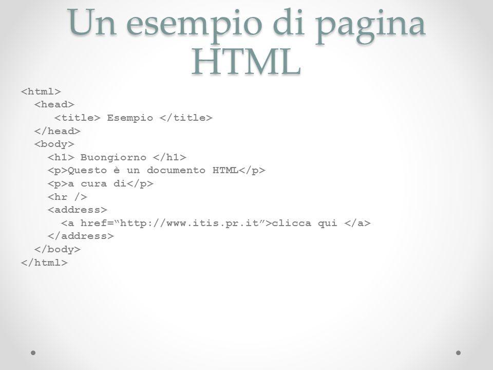 Un esempio di pagina HTML