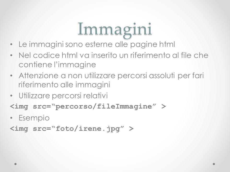 Immagini Le immagini sono esterne alle pagine html