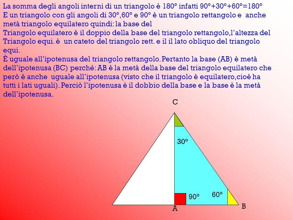 La somma degli angoli interni di un triangolo è 180° infatti 90°+30°+60°=180°