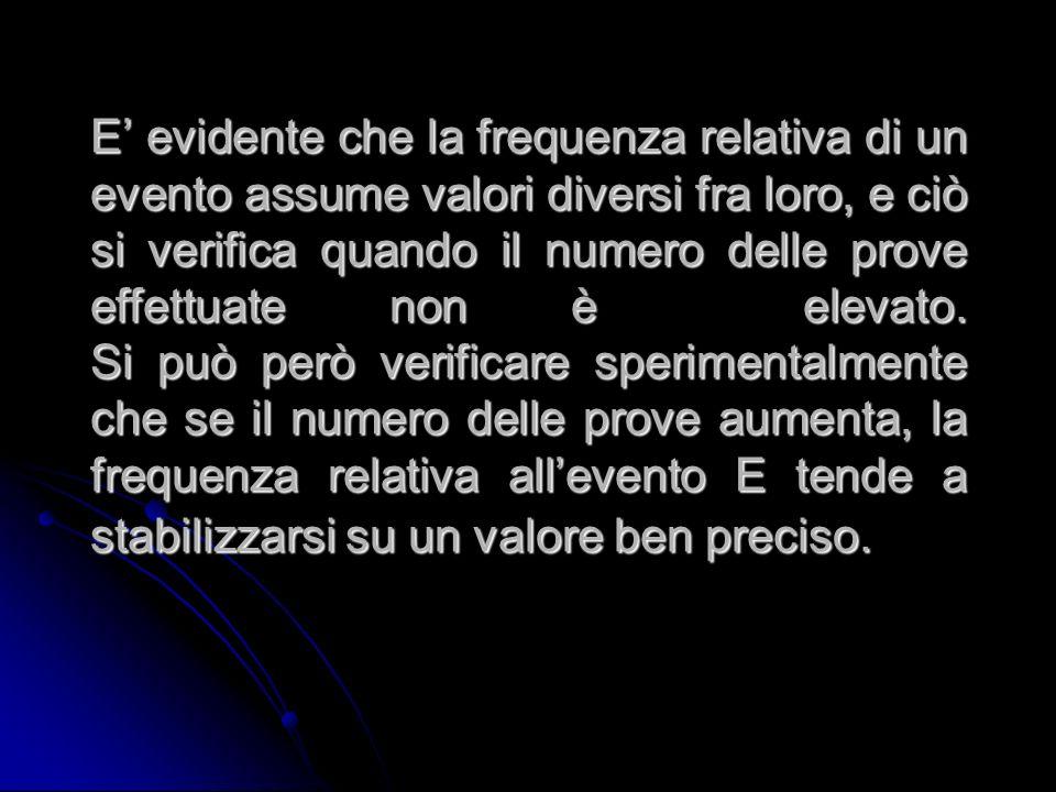 E' evidente che la frequenza relativa di un evento assume valori diversi fra loro, e ciò si verifica quando il numero delle prove effettuate non è elevato.