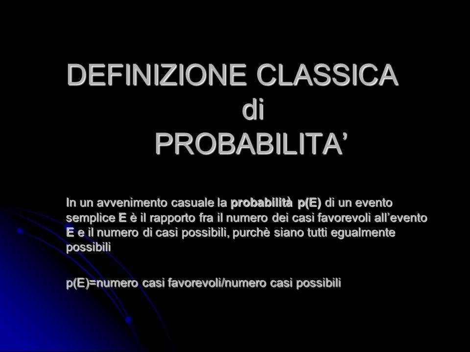 DEFINIZIONE CLASSICA di PROBABILITA' In un avvenimento casuale la probabilità p(E) di un evento semplice E è il rapporto fra il numero dei casi favorevoli all'evento E e il numero di casi possibili, purchè siano tutti egualmente possibili p(E)=numero casi favorevoli/numero casi possibili