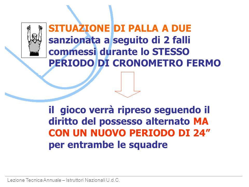 SITUAZIONE DI PALLA A DUE sanzionata a seguito di 2 falli commessi durante lo STESSO PERIODO DI CRONOMETRO FERMO
