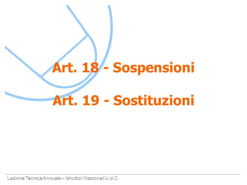 Art. 18 - Sospensioni Art. 19 - Sostituzioni