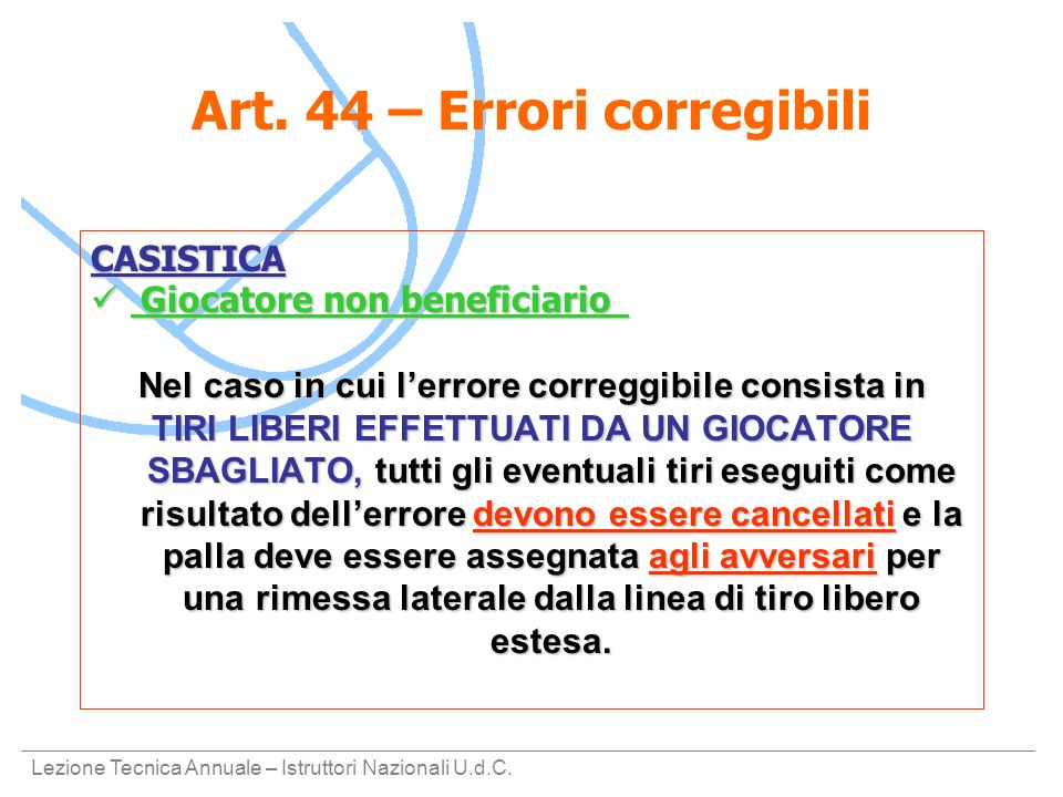 Art. 44 – Errori corregibili