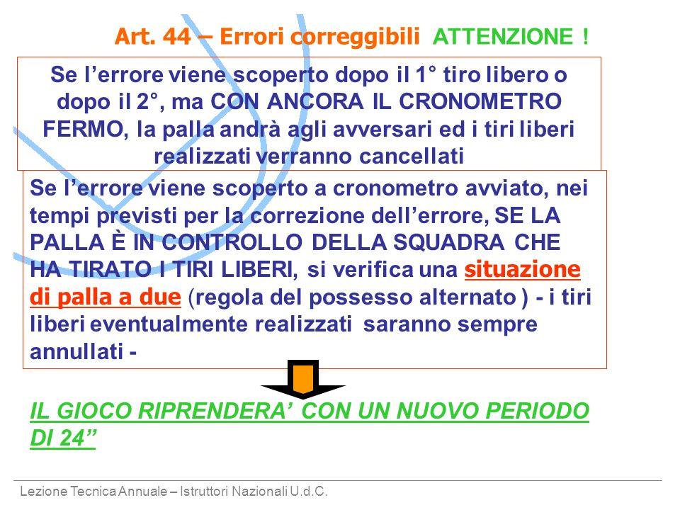 Art. 44 – Errori correggibili ATTENZIONE !