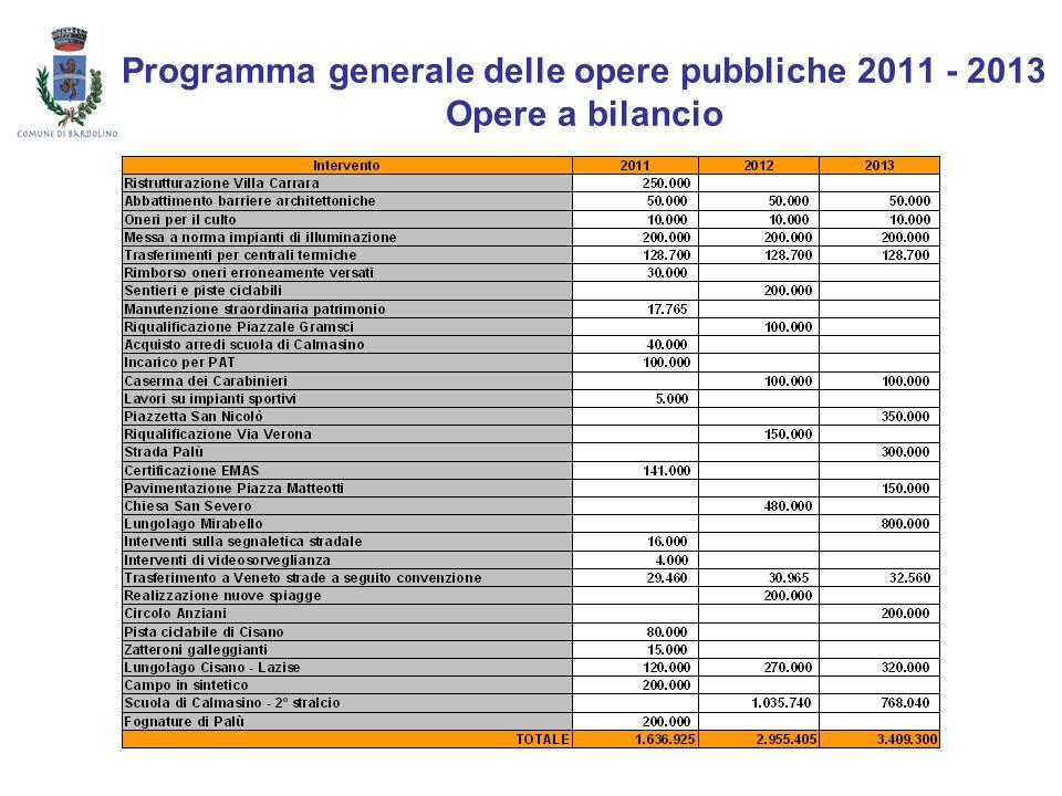 Programma generale delle opere pubbliche 2011 - 2013 Opere a bilancio