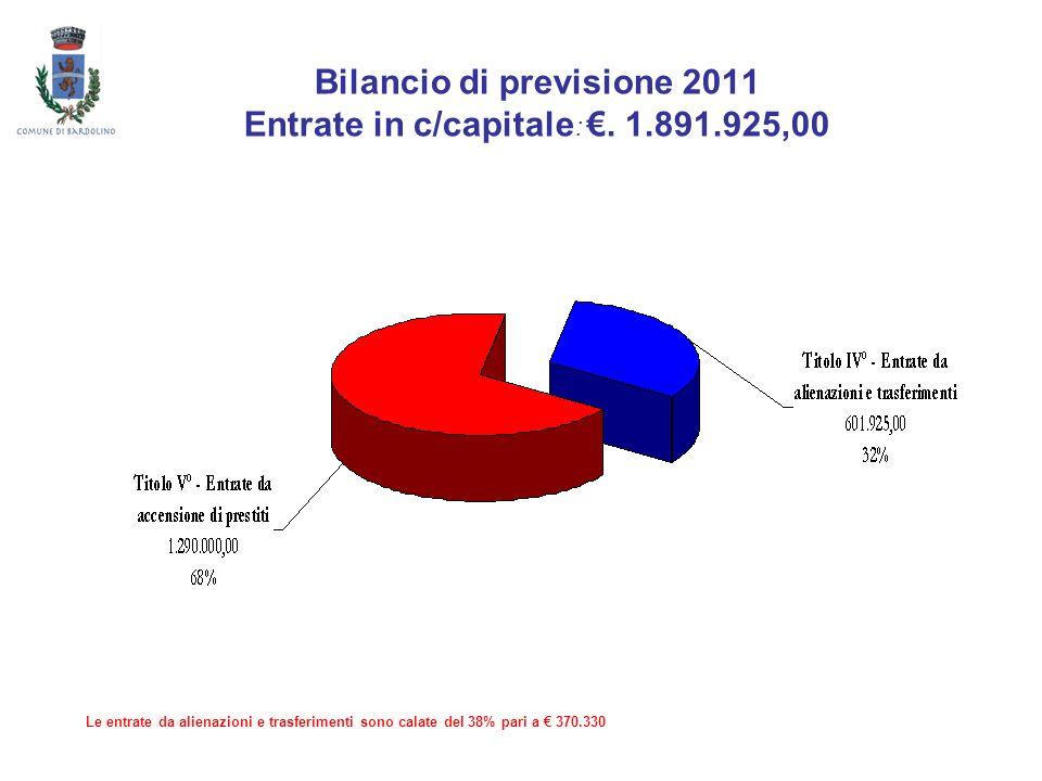 Bilancio di previsione 2011 Entrate in c/capitale: €. 1.891.925,00