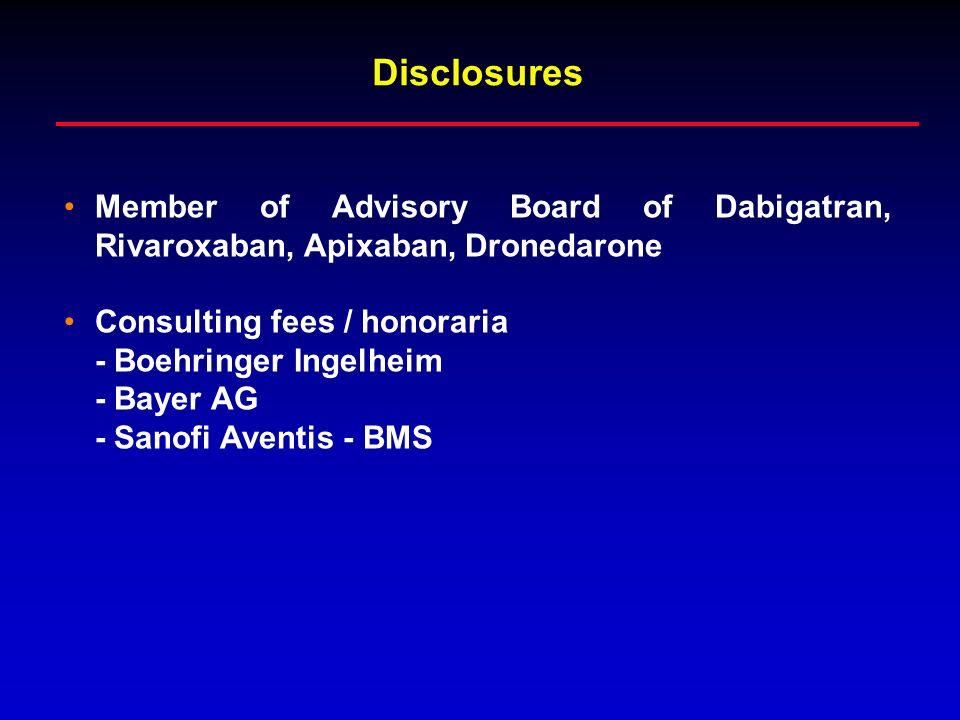 DisclosuresMember of Advisory Board of Dabigatran, Rivaroxaban, Apixaban, Dronedarone. Consulting fees / honoraria.