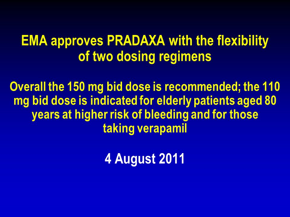 EMA approves PRADAXA with the flexibility of two dosing regimens Overall the 150 mg bid dose is recommended; the 110 mg bid dose is indicated for elderly patients aged 80 years at higher risk of bleeding and for those taking verapamil 4 August 2011