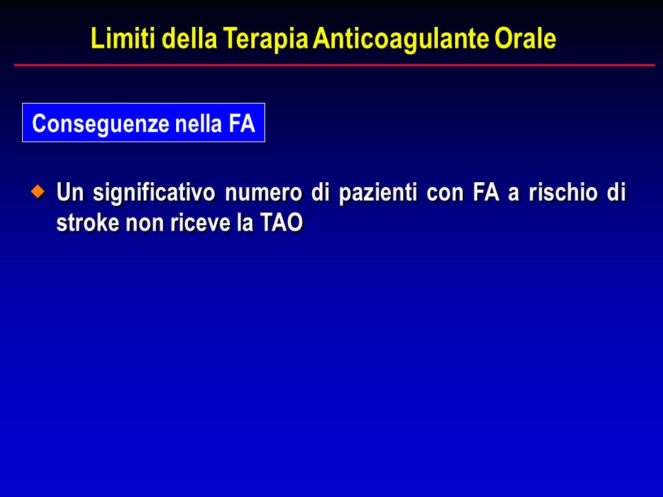 Limiti della Terapia Anticoagulante Orale