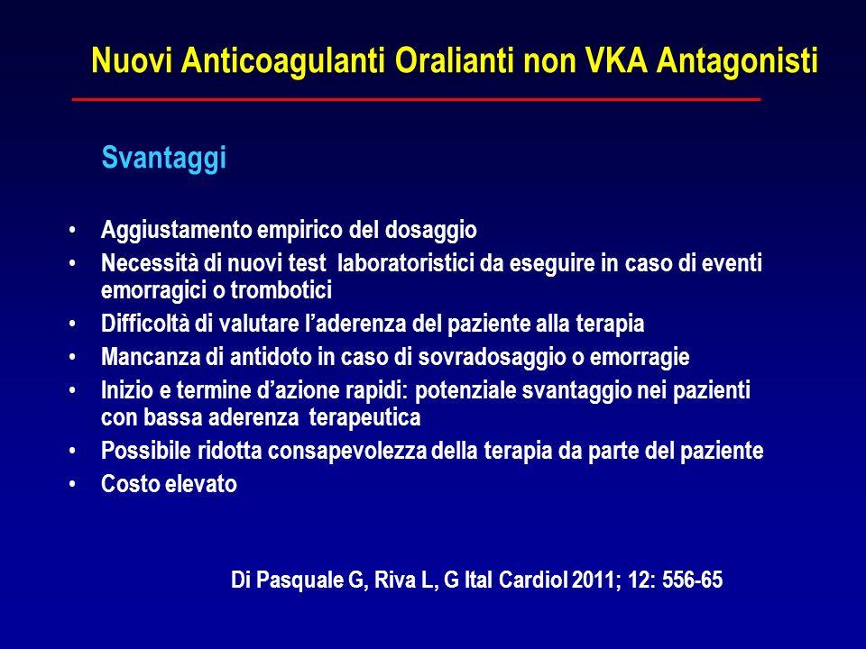 Nuovi Anticoagulanti Oralianti non VKA Antagonisti