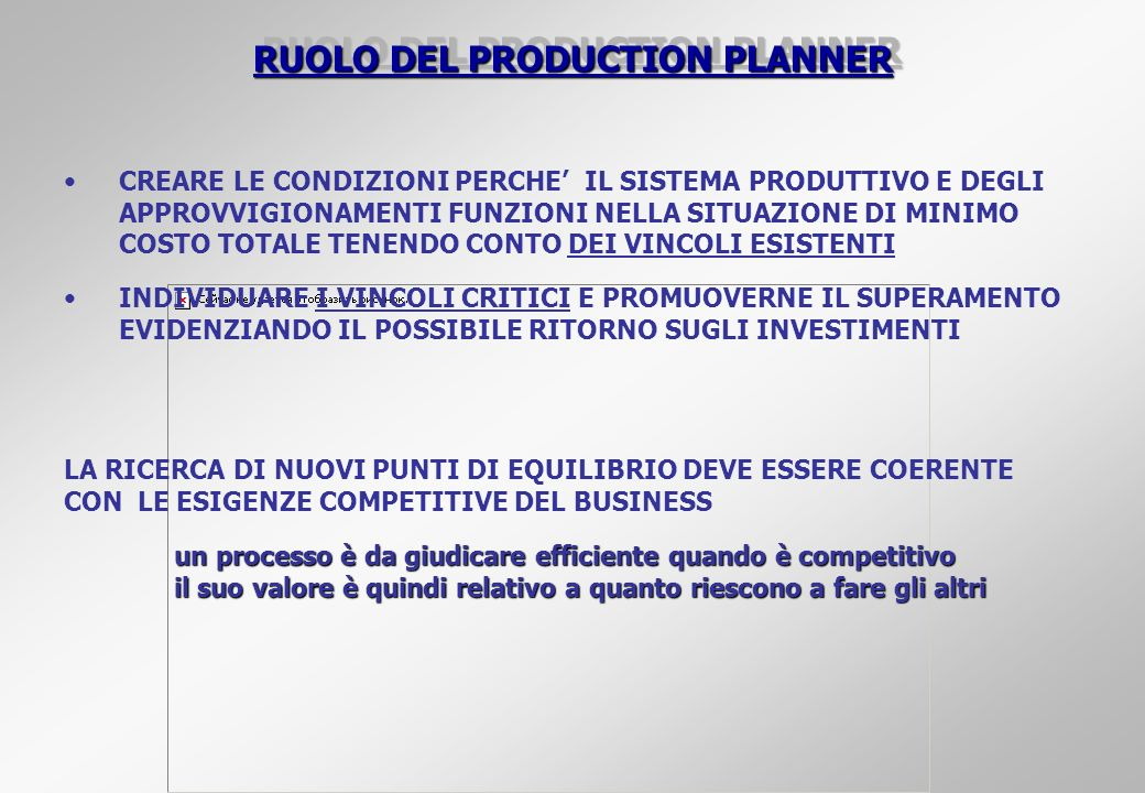 RUOLO DEL PRODUCTION PLANNER