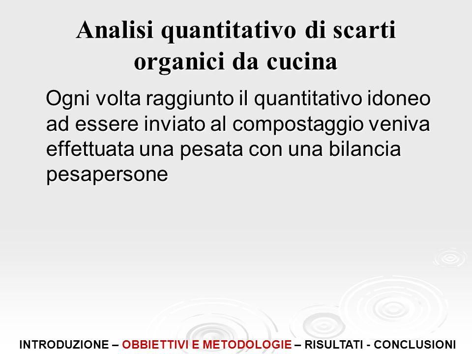 Analisi quantitativo di scarti organici da cucina