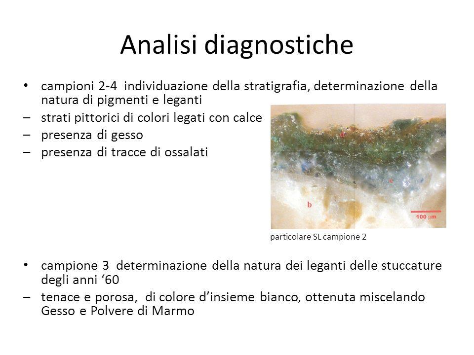 Analisi diagnostiche campioni 2-4 individuazione della stratigrafia, determinazione della natura di pigmenti e leganti.