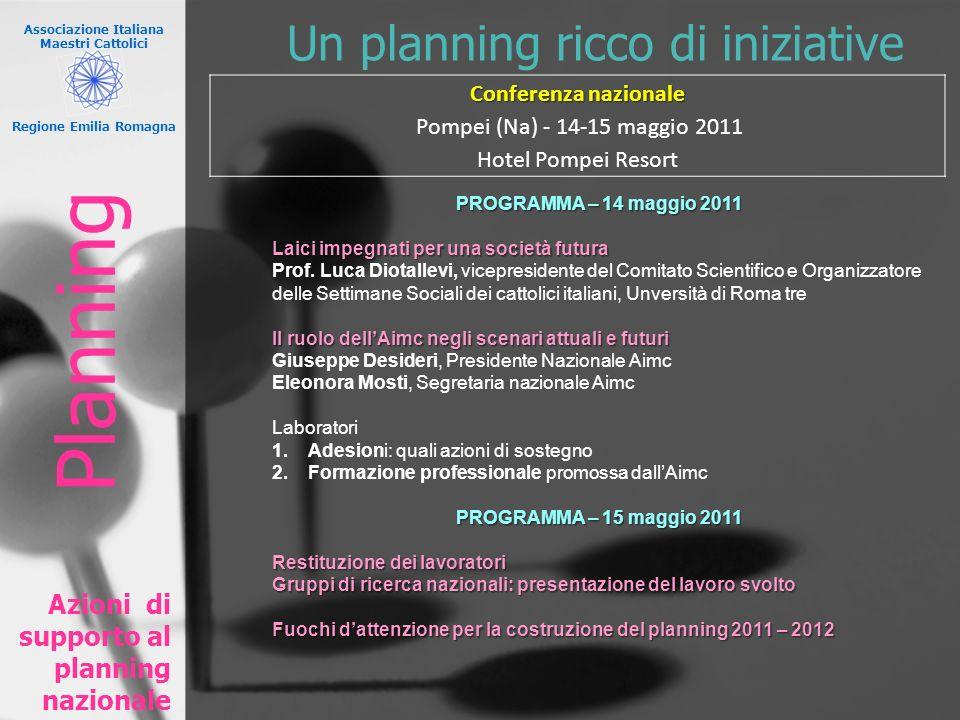 Un planning ricco di iniziative