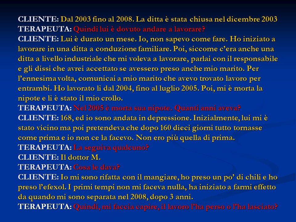 CLIENTE: Dal 2003 fino al 2008.