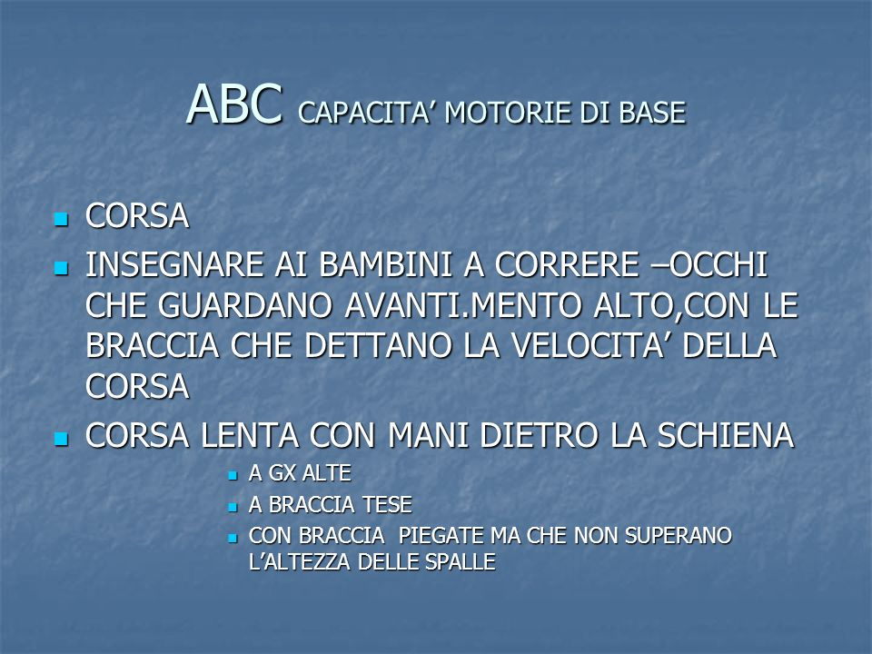 ABC CAPACITA' MOTORIE DI BASE