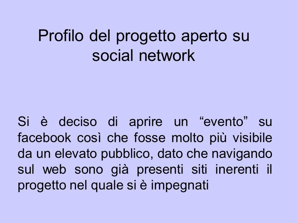 Profilo del progetto aperto su social network