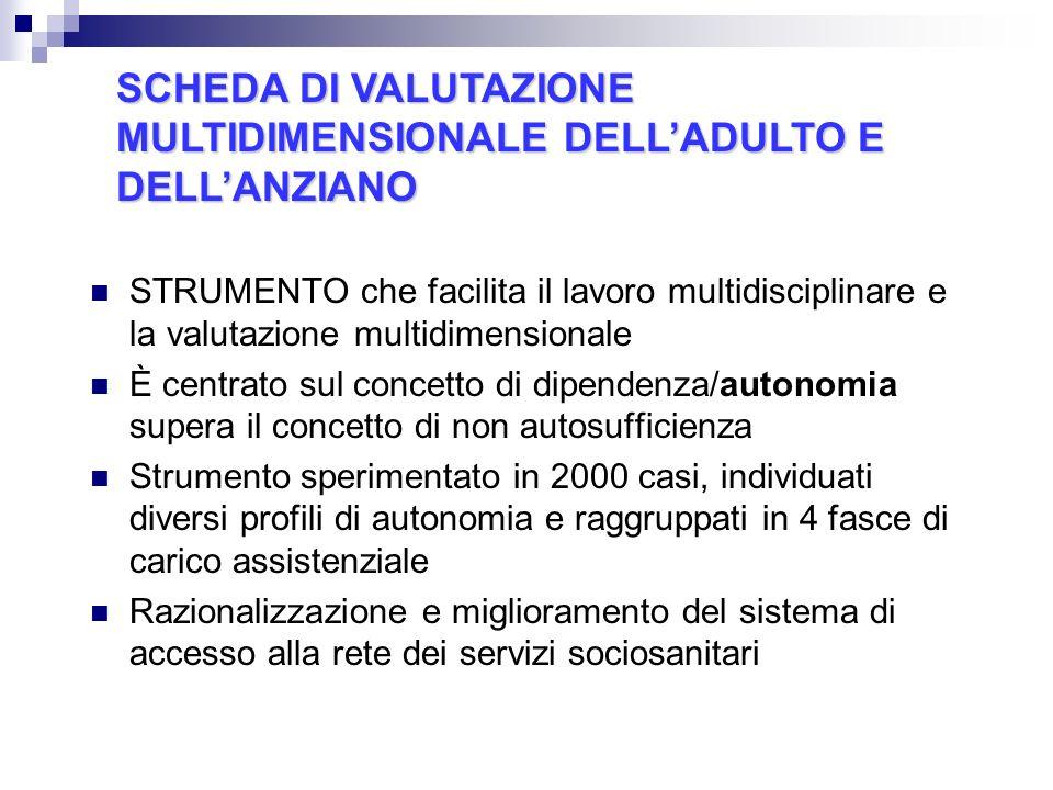 SCHEDA DI VALUTAZIONE MULTIDIMENSIONALE DELL'ADULTO E DELL'ANZIANO