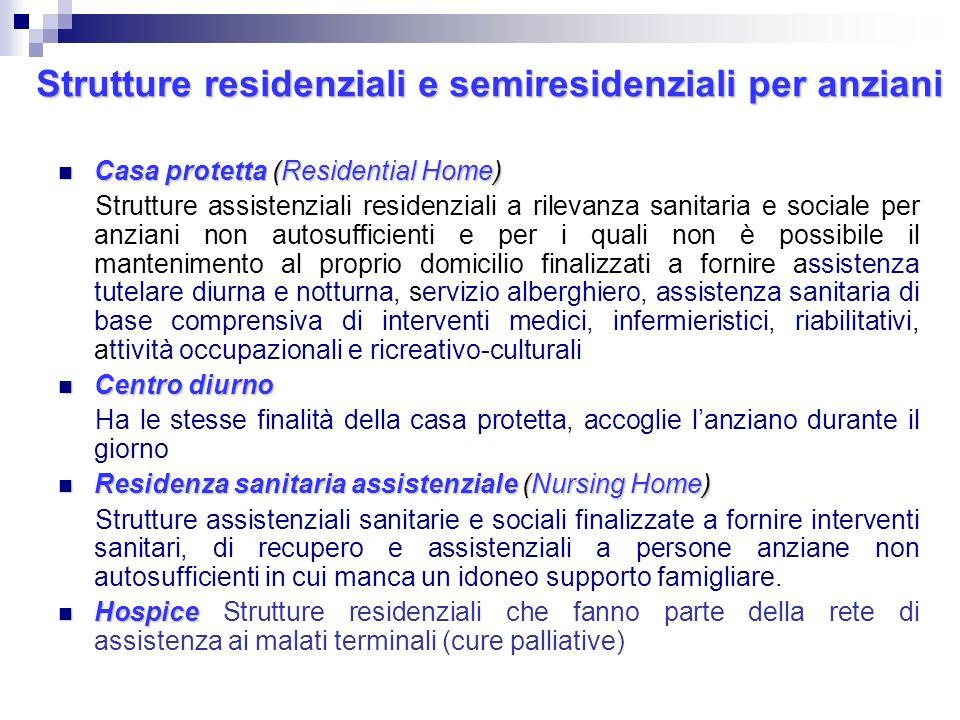 Strutture residenziali e semiresidenziali per anziani
