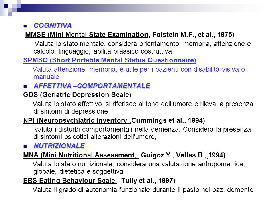 COGNITIVA MMSE (Mini Mental State Examination, Folstein M.F., et al., 1975)