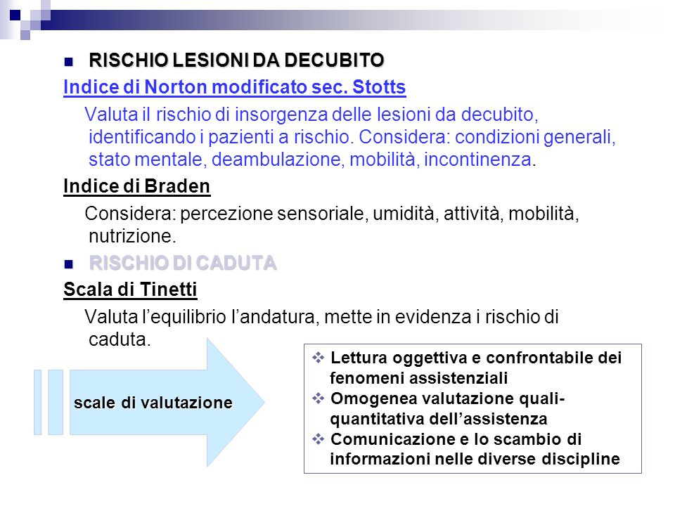 RISCHIO LESIONI DA DECUBITO Indice di Norton modificato sec. Stotts