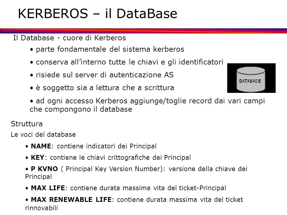 KERBEROS – il DataBase Il Database - cuore di Kerberos