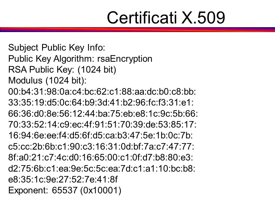 Certificati X.509 Subject Public Key Info: