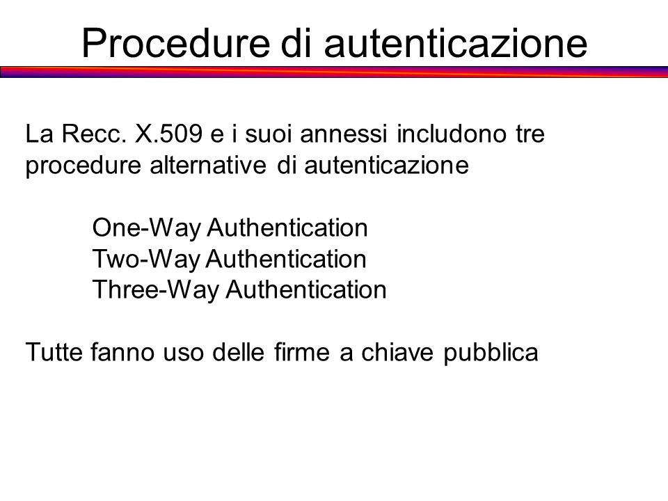 Procedure di autenticazione