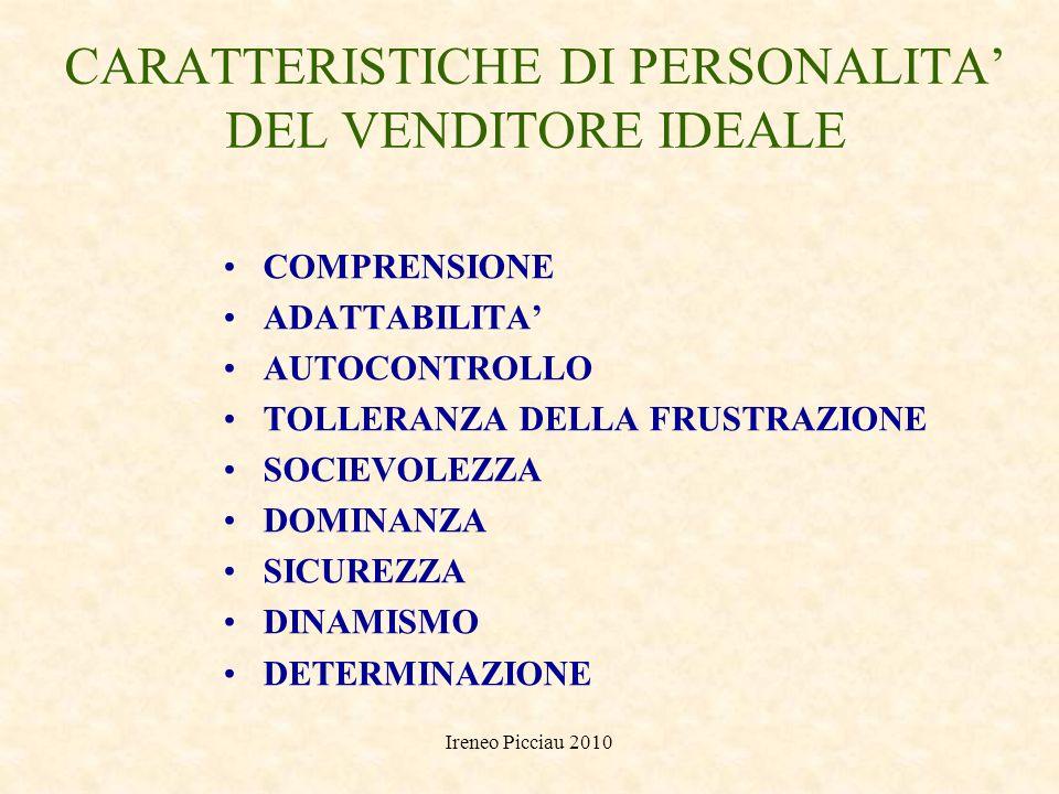 CARATTERISTICHE DI PERSONALITA' DEL VENDITORE IDEALE