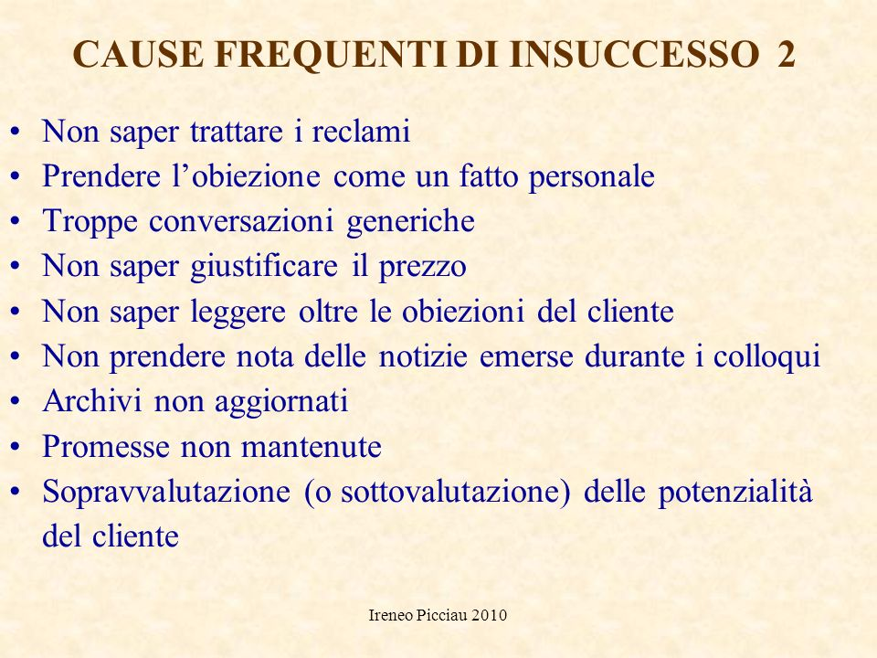 CAUSE FREQUENTI DI INSUCCESSO 2