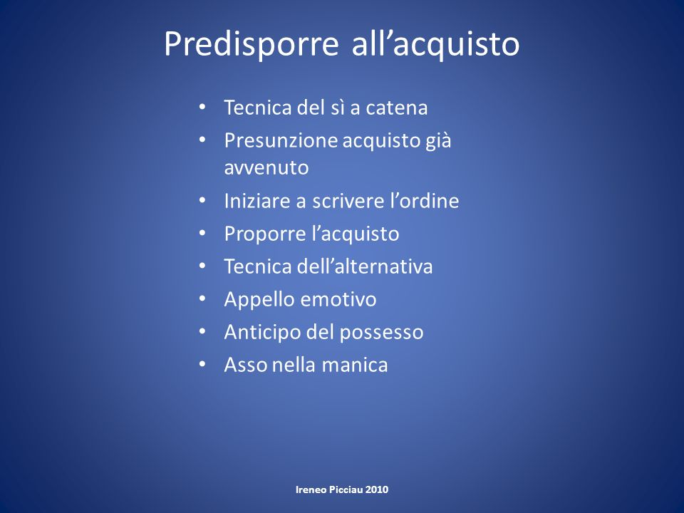 Predisporre all'acquisto