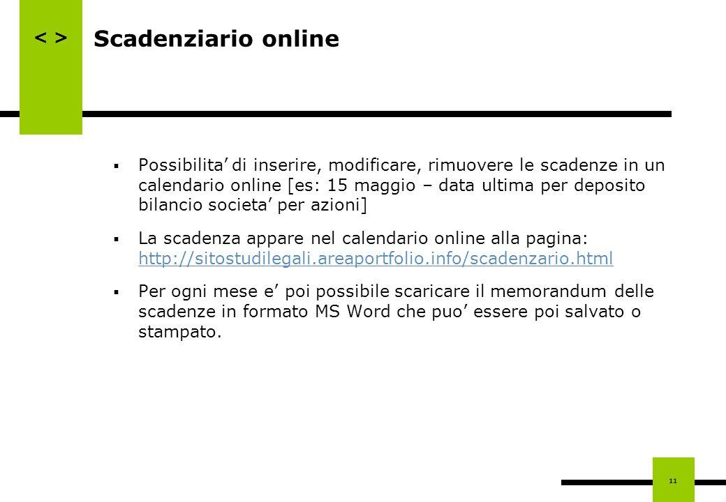 Scadenziario online