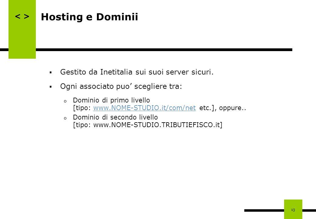 Hosting e Dominii Gestito da Inetitalia sui suoi server sicuri.