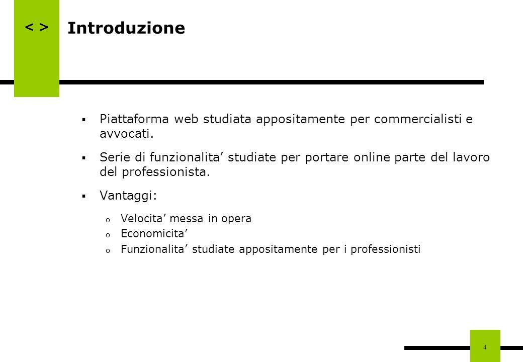 Introduzione Piattaforma web studiata appositamente per commercialisti e avvocati.