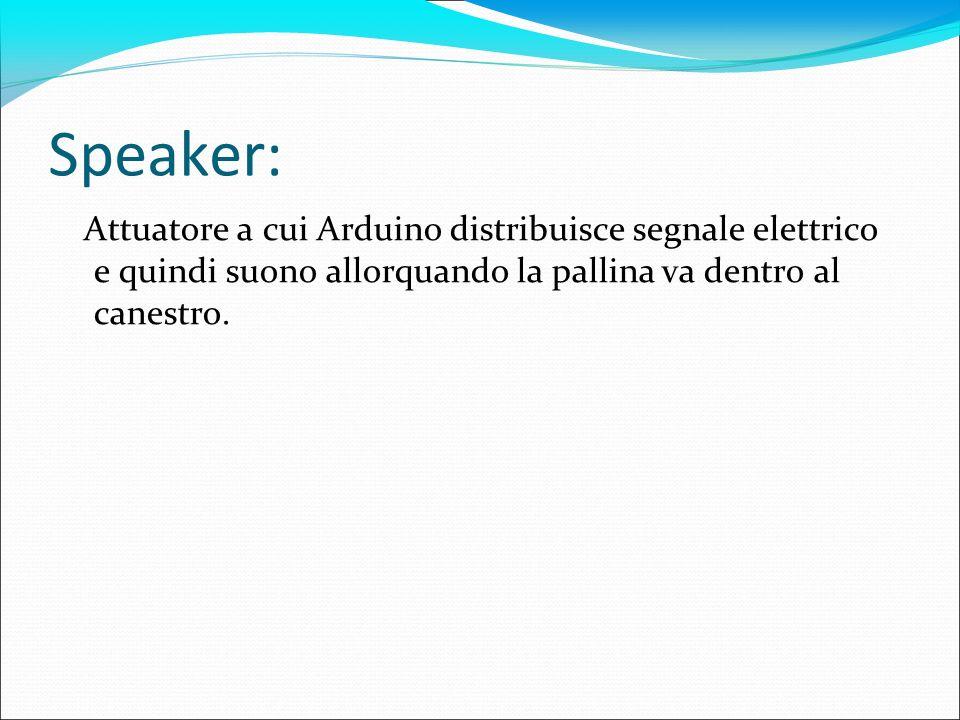 Speaker: Attuatore a cui Arduino distribuisce segnale elettrico e quindi suono allorquando la pallina va dentro al canestro.