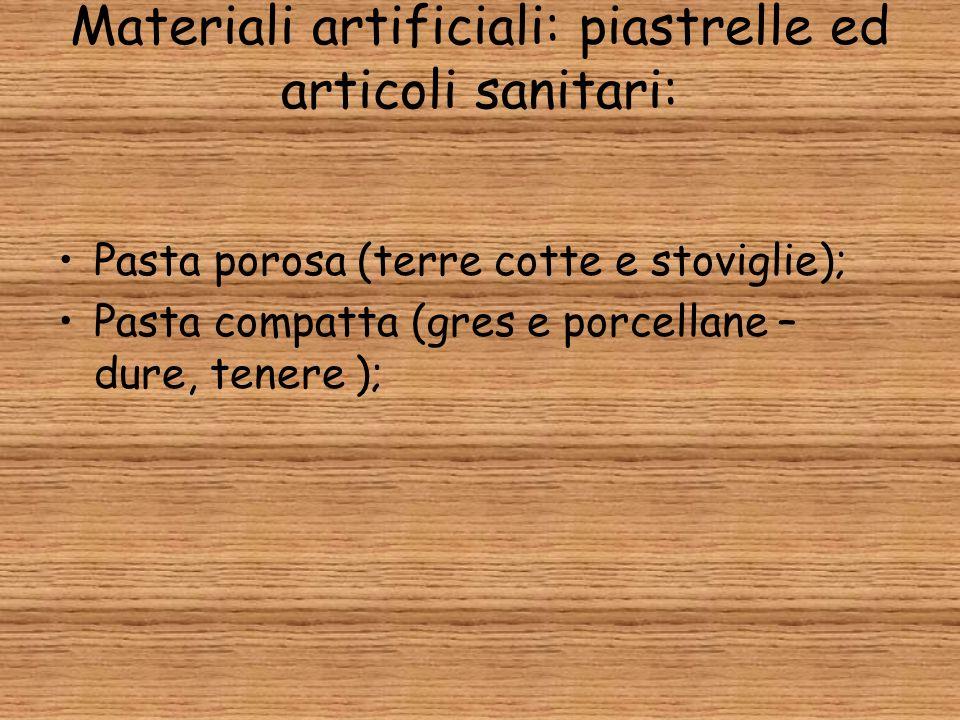 Materiali artificiali: piastrelle ed articoli sanitari: