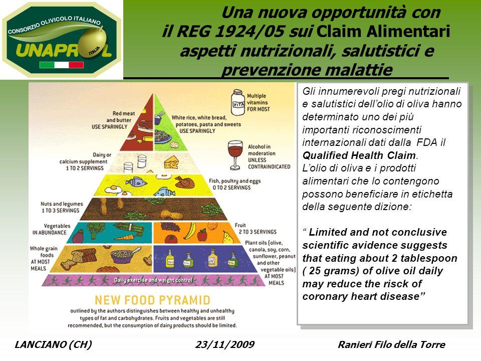 Una nuova opportunità con il REG 1924/05 sui Claim Alimentari aspetti nutrizionali, salutistici e prevenzione malattie