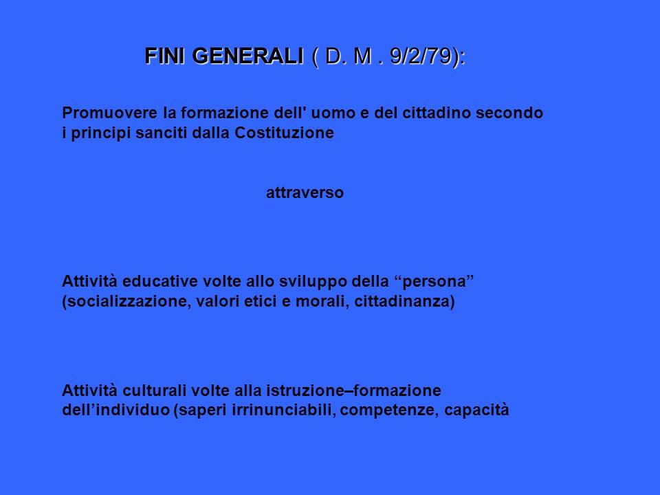 FINI GENERALI ( D. M . 9/2/79): Promuovere la formazione dell uomo e del cittadino secondo i principi sanciti dalla Costituzione.