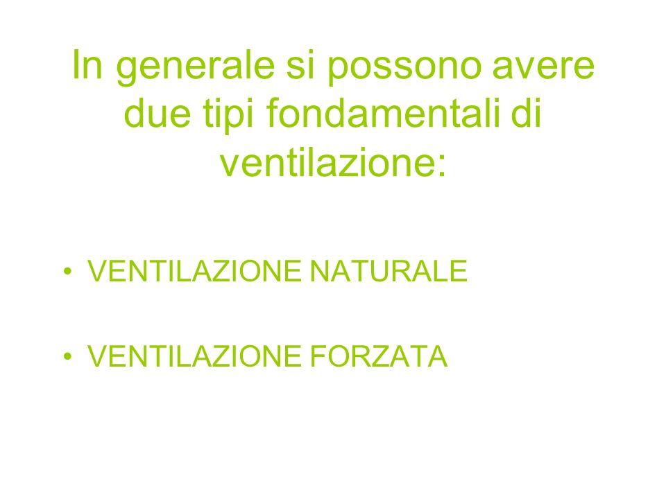 In generale si possono avere due tipi fondamentali di ventilazione: