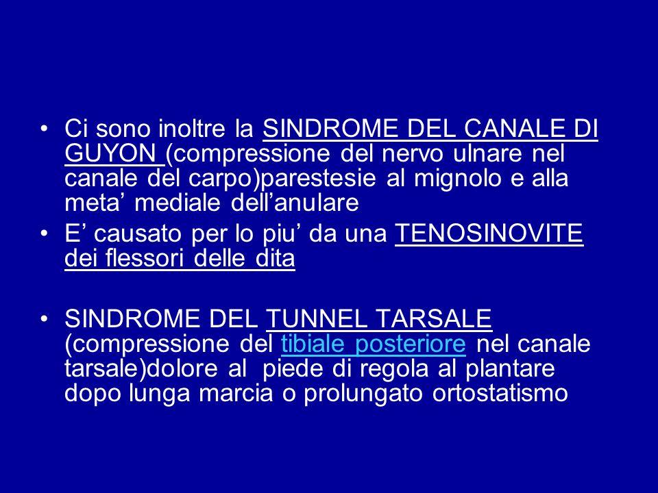 Ci sono inoltre la SINDROME DEL CANALE DI GUYON (compressione del nervo ulnare nel canale del carpo)parestesie al mignolo e alla meta' mediale dell'anulare