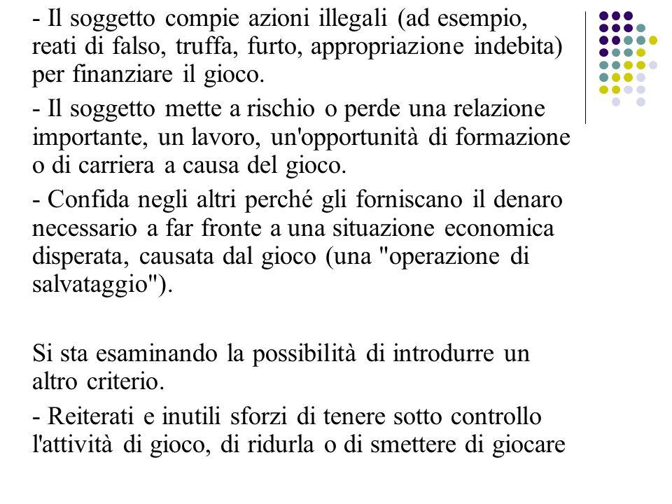 - Il soggetto compie azioni illegali (ad esempio, reati di falso, truffa, furto, appropriazione indebita) per finanziare il gioco.